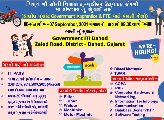 ITI Campus Placement Drive on 7th September 2021 For Hero Two Wheeler Manufacturing | ITI Jobs Recruitment 2021