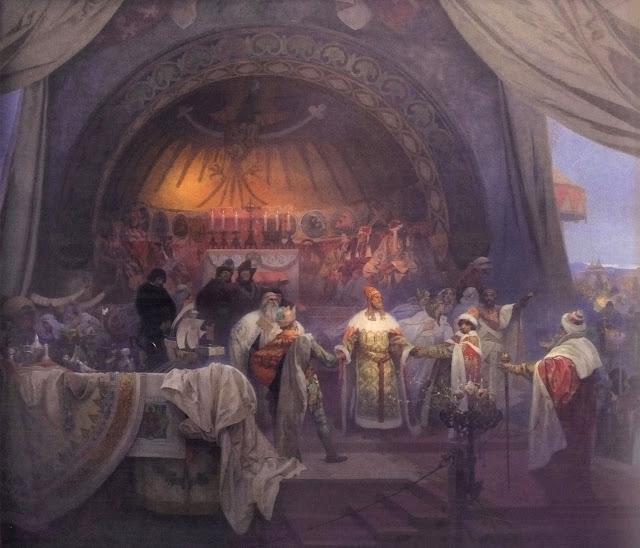 Альфонс Муха - Славянский эпос. Чешский король Пржемысл Отакар II — союз славянских династий, 1924
