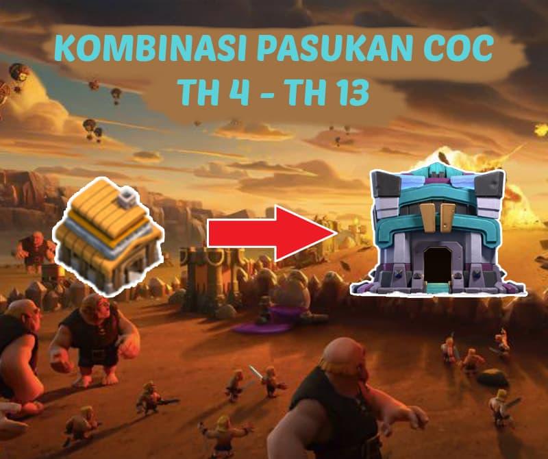 Kombinasi Pasukan COC Terbaru & Terkuat Untuk TH 4 - TH 13
