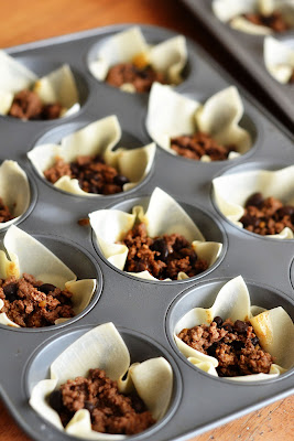 Taco Cupcakes are Wonton wrappers filled with ground beef, beans, cheese and salsa. Life-in-the-Lofthouse.com