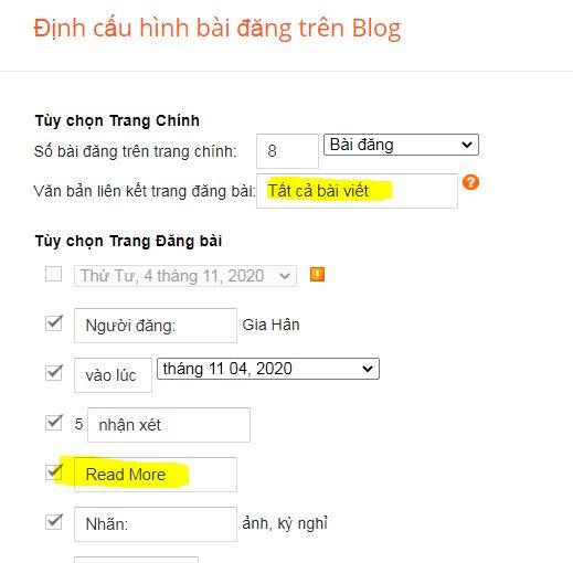 Định cấu hình bài đăng trên Blog