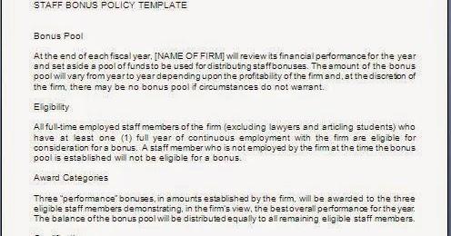Employee Bonus Policy Sample