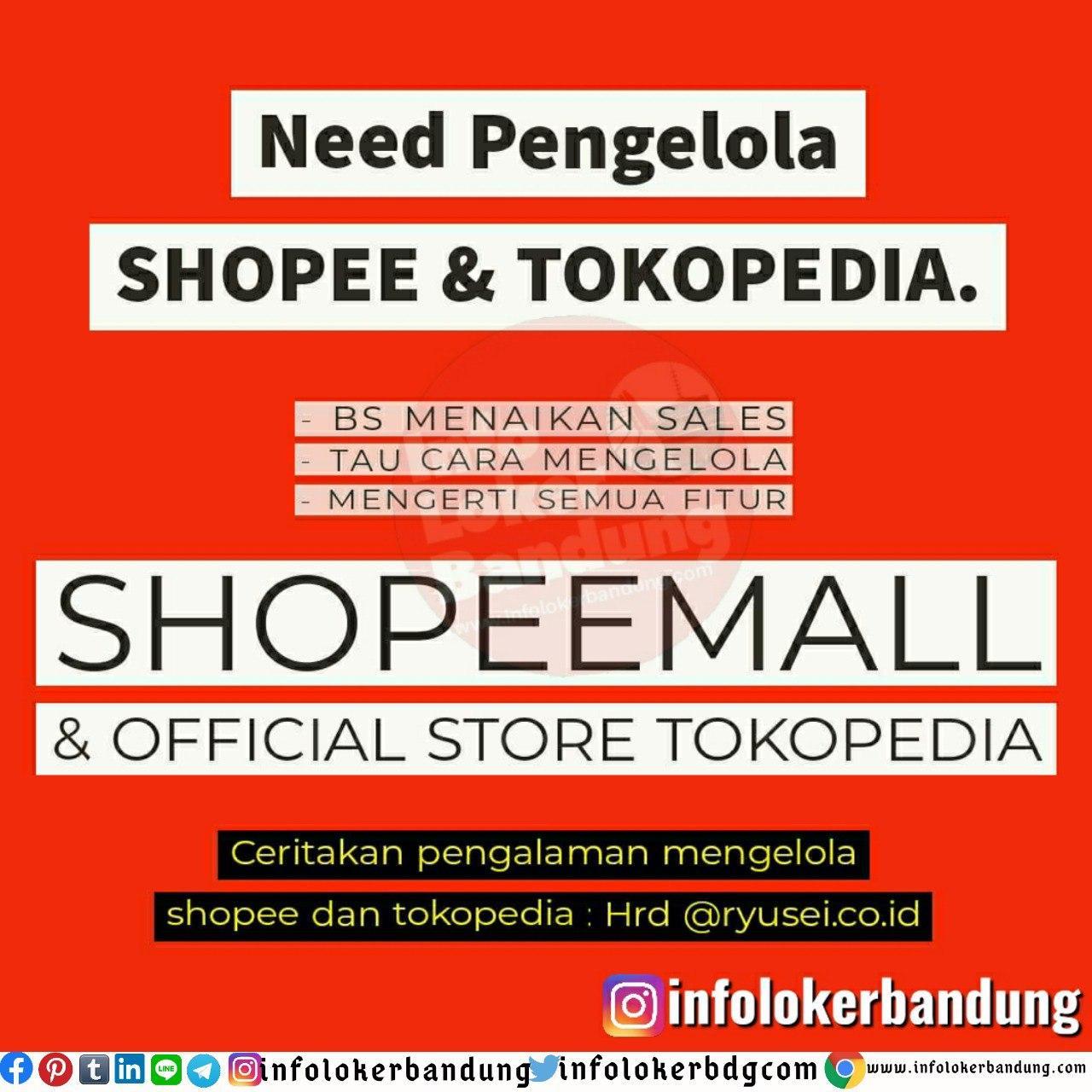 Lowongan Kerja Pengelola Shopee & Tokopedia Ryusei Bandung Juni 2020
