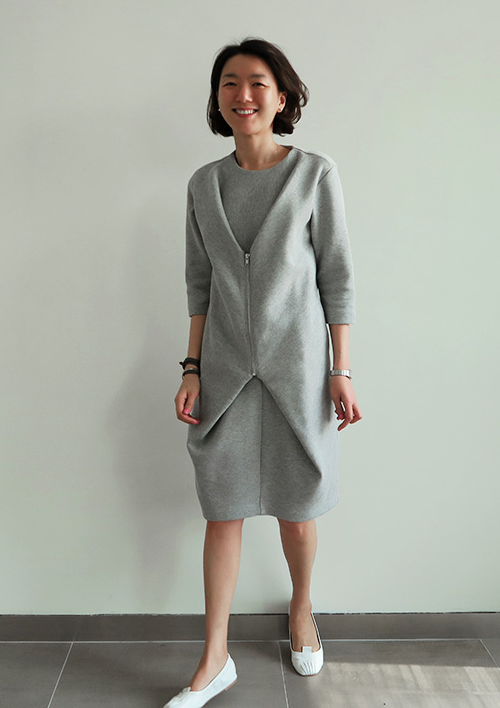 Zipper-Point Midi Dress