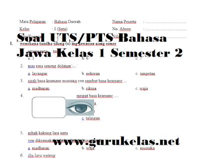 Soal UTS/PTS Bahasa Jawa Kelas 1 Semester 2