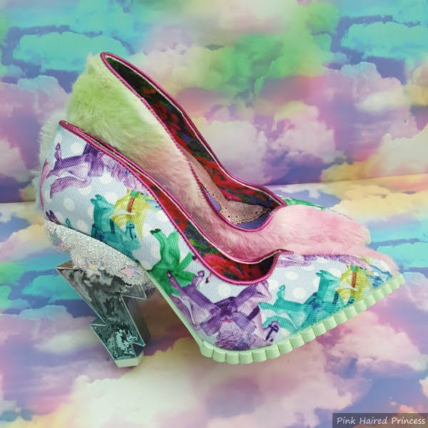 courts shoes with lightning bolt heels and unicorn and fluffy material uppers