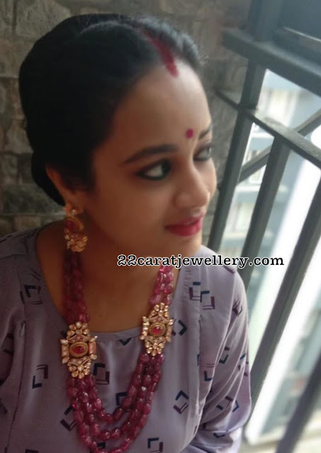 Suja Varunee Ruby Beads Long Haram