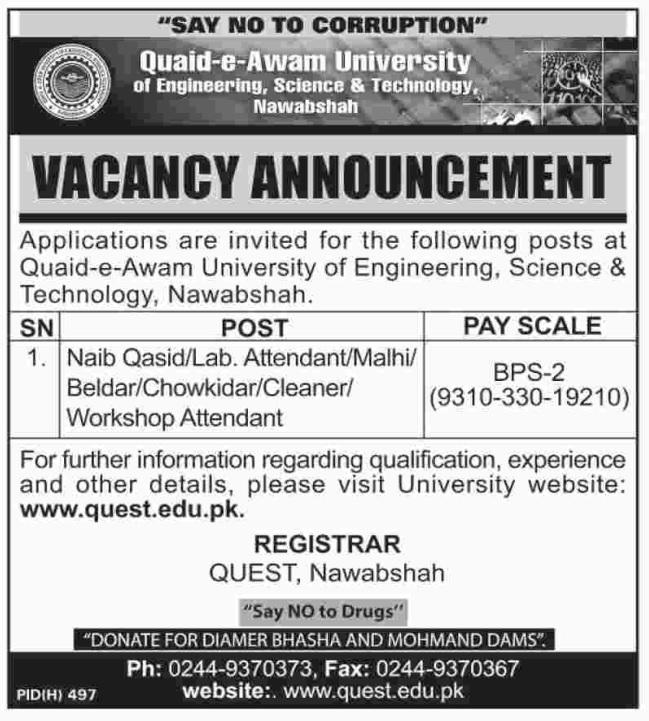 Quaid-e-Azam University of Engineering, Science & Technology Jobs 2019