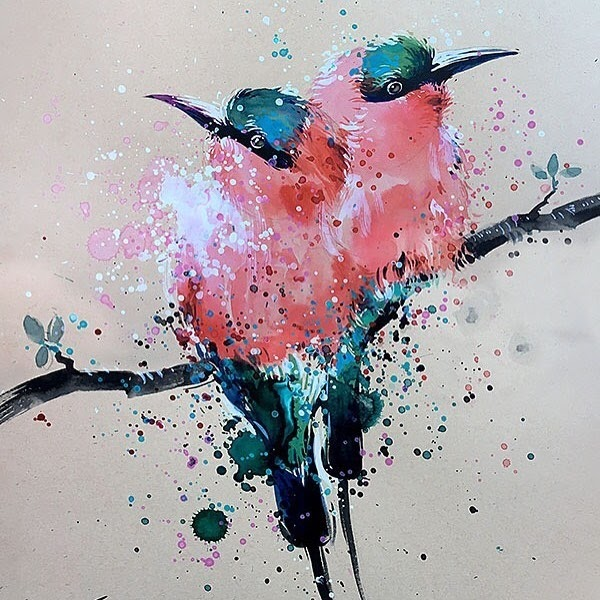 10-Bee-eaters-Tilen-Ti-Paintings-of-Animals-with-Splashes-of-Paint-www-designstack-co