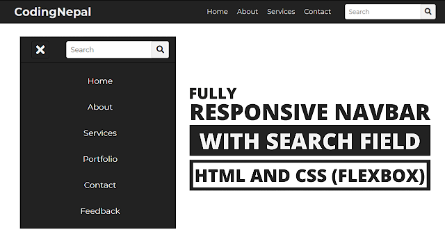 Responsive Navbar with Search Box using HTML CSS