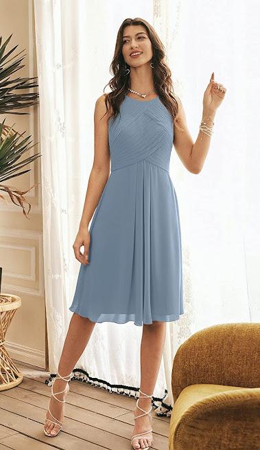 Short Chiffon Halter Bridesmaid Dresses