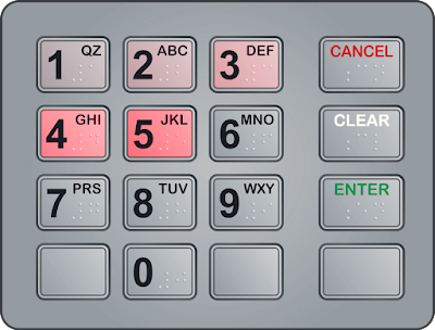10-key pad with telltale reddish heat signatures