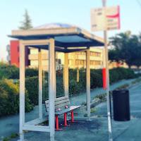 I take a photo of an empty bus stop near Everett Washington