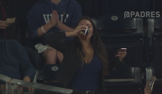 padres fan Gabby DiMarco foul ball beer chug