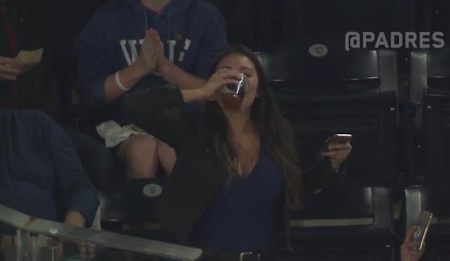 padres fan Gabby DiMarco foul ball beer chug