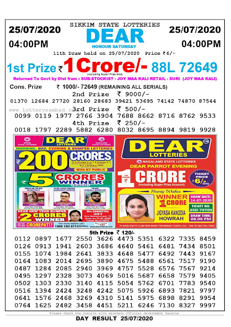 Lottery Sambad Result 25.07.2020 Dear Honour Saturday 4 pm