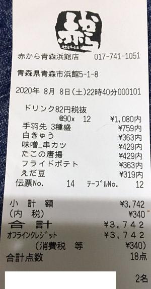 赤から 青森浜館店 2020/8/8 飲食のレシート