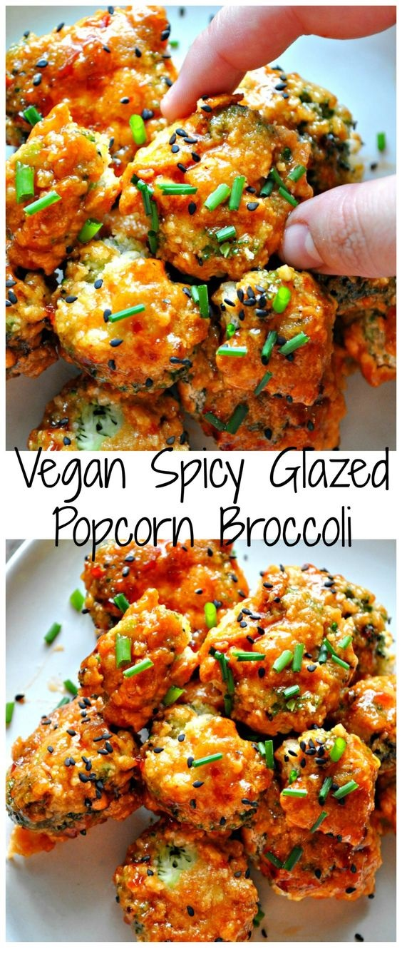 Vegan Spicy Glazed Popcorn Broccoli