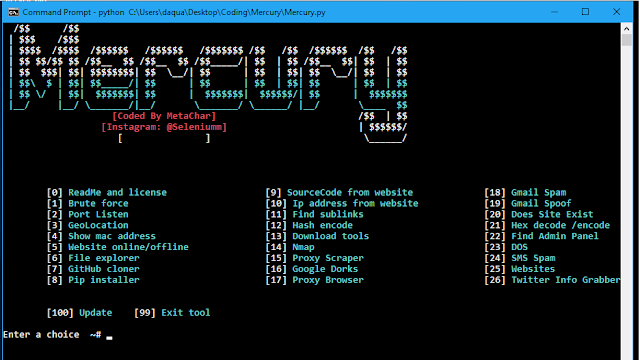Mercury -  Uno strumento di hacking utilizzato per raccogliere informazioni e utilizzare le informazioni per danneggiare ulteriormente il bersaglio