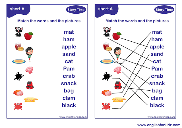 Short a sound worksheet for EFL and ESL students