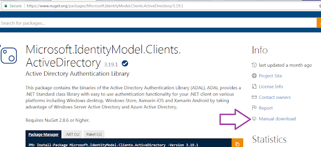 How to download Microsoft.IdentityModel.Clients.ActiveDirectory dll from Nuget