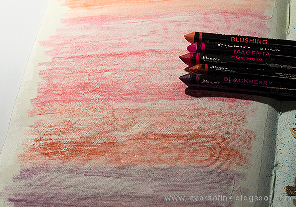 Layers of ink - Ombre Art Journal Page Tutorial by Anna-Karin with Dina Wakley Scribble Sticks