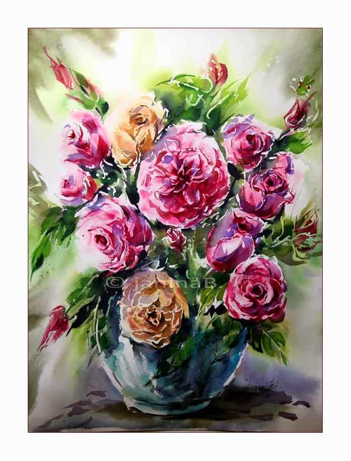 aquarellzauber rosen in der vase. Black Bedroom Furniture Sets. Home Design Ideas