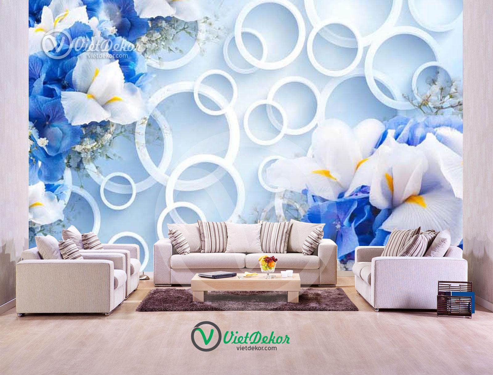 Tranh hoa dán tường 3d