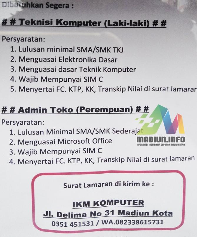 Lowongan Kerja Ikm Komputer Madiun Madiun Info Madiun Raya