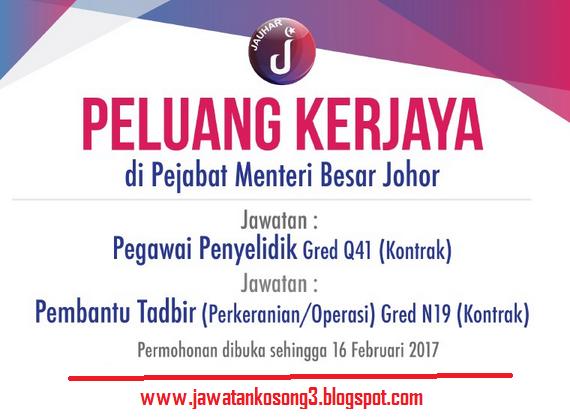 Jawatan Kosong kerajaan Pejabat Menteri Besar Johor