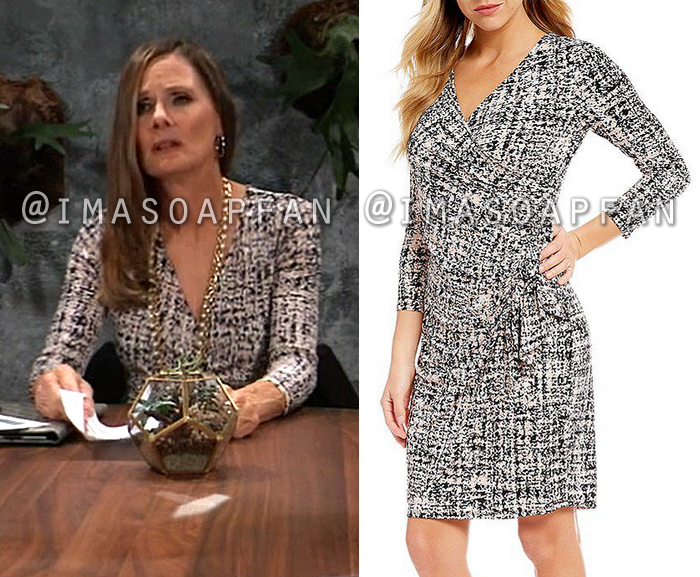 Lucy Coe, Lynn Herring, Pink and Black Printed Faux Wrap Dress, General Hospital, GH