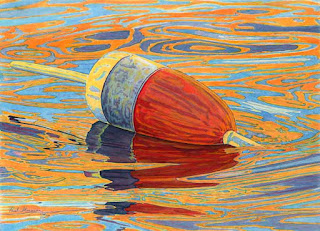 Red Blue White Buoy II - Watercolor By Paul Sherman