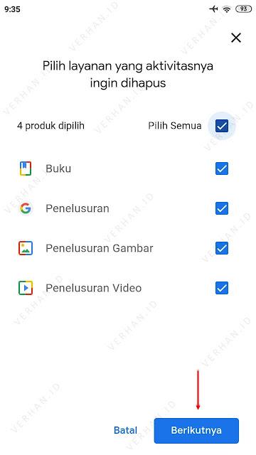 pilih aktivitas pencarian google