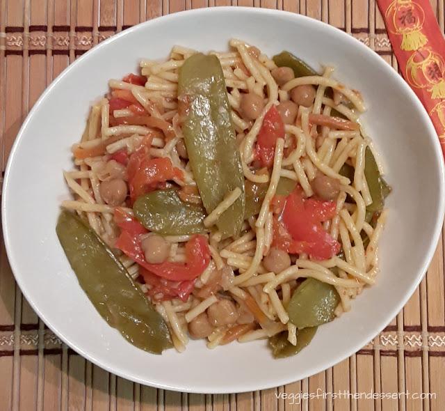 Crockpot Vegetable Lo Mein - Veggies First Then Dessert