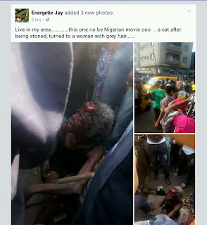 CAT TURNS TO A WOMAN AFTER BEING STONED IN LAGOS