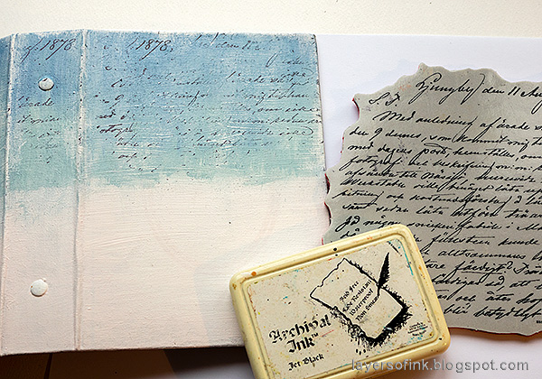 Layers of ink - December Daily Peaceful Winter Tutorial by Anna-Karin Evaldsson. Stamp with Simon Says Stamp Old Letter stamp.