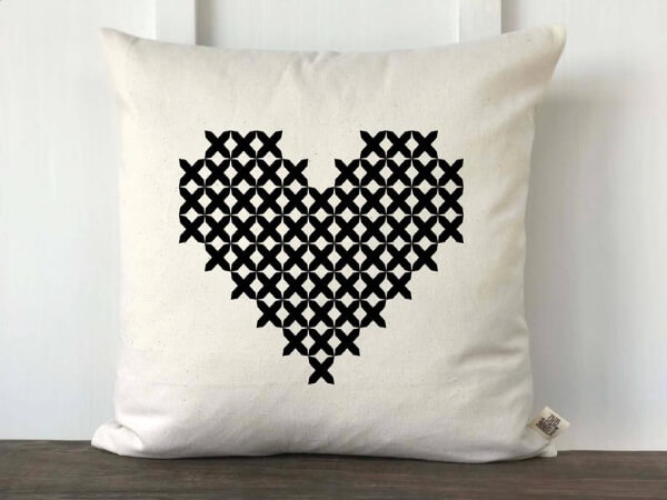graphic heart pillow