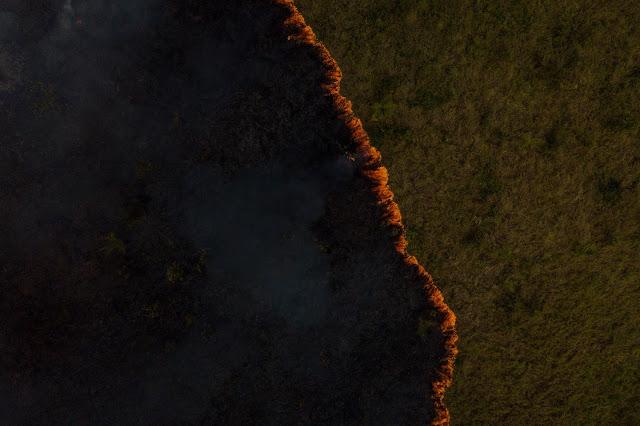 Fogo usado em pastagens para renovar o capim para o gado. Foto: Flavio Forner/Ambiental Media