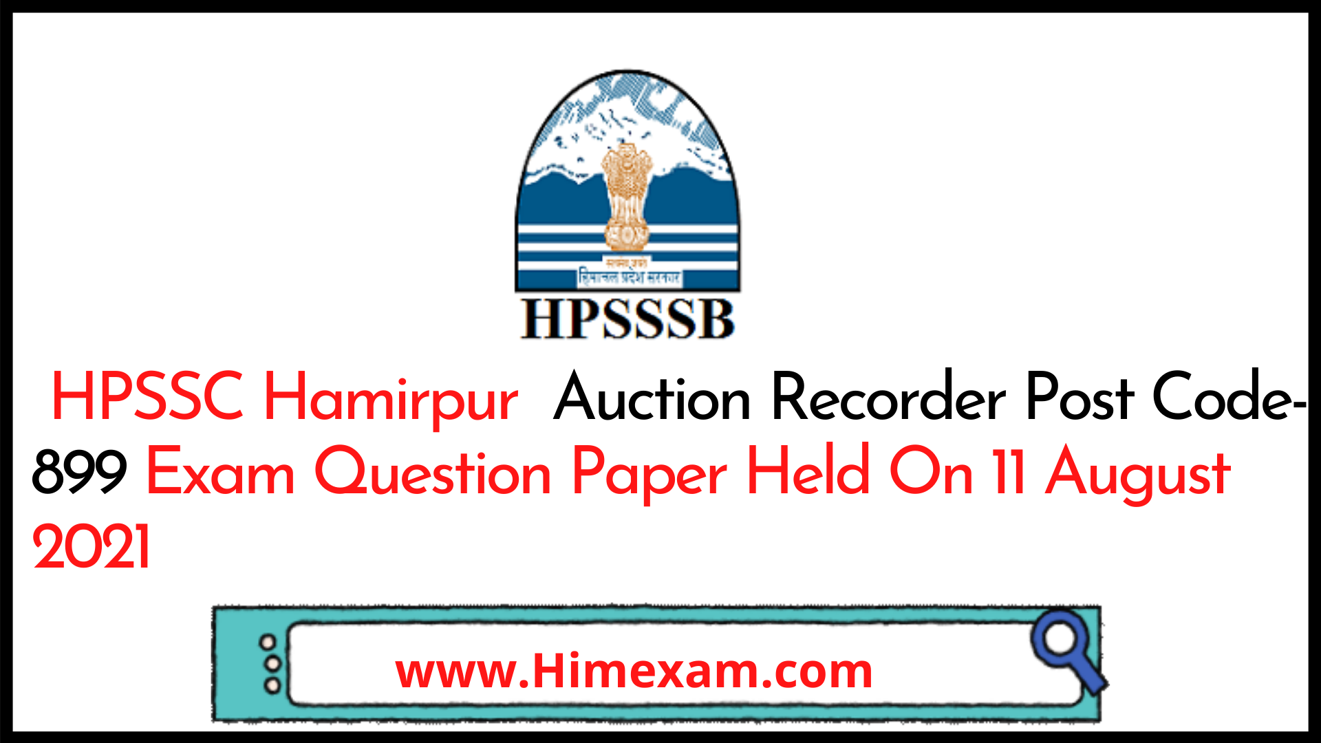 HPSSC Hamirpur  Auction Recorder Post Code-899 Exam Question Paper Held On 11 August 2021