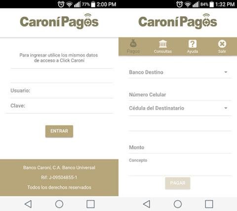 Captura de aplicación Caroní Pagos