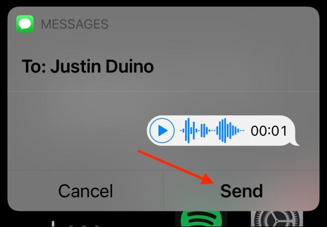 """اضغط على """"إرسال"""" لإرسال رسالتك الصوتية"""