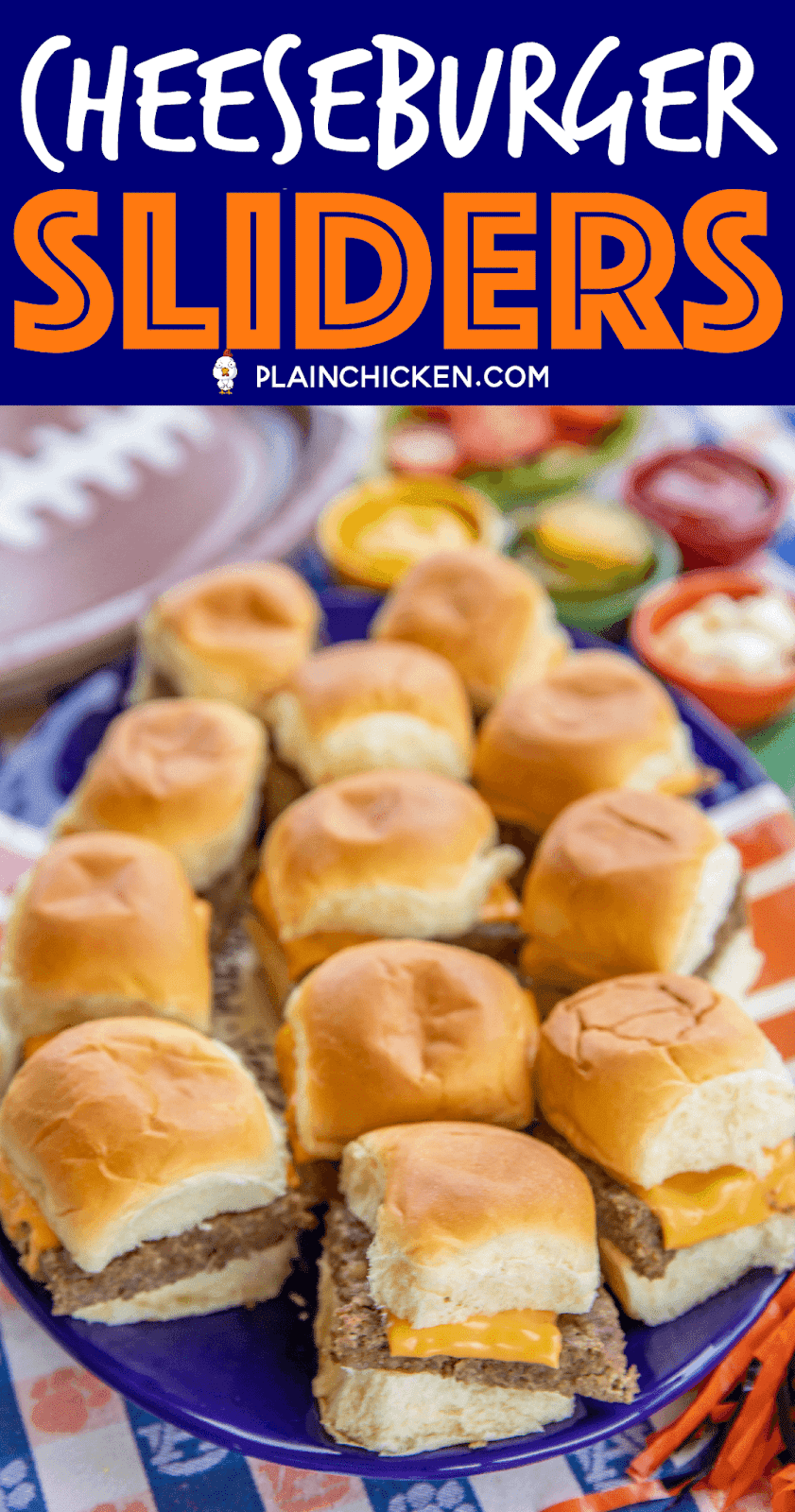 Cheeseburger Sliders - only 5 ingredients!! Ground beef, sausage, ranch dressing mix, cheese and buns. PERFECT for tailgating and parties!! Can make ahead of time and heat in the oven or on top of the grill when ready to serve. Top with your favorite burger toppings - lettuce, tomato, bacon, pickles, mayo, ketchup, mustard. SO easy and SOOOO good!!! Seriously our favorite burger recipe! #tailgating #burgers #beef #partyfood