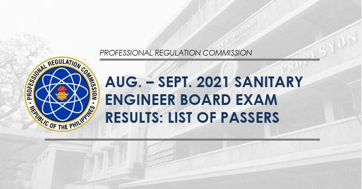 August-September 2021 Sanitary Engineer board exam passers