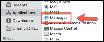قم بتشغيل تطبيق الرسائل من مجلد التطبيقات في Finder