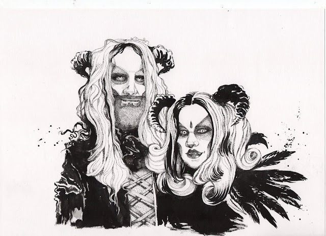 Halloween Costume Portrait Drawing in Ink