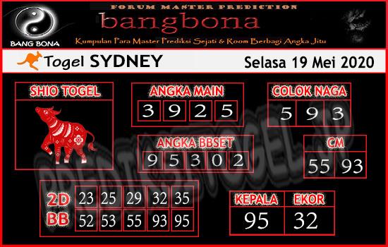 Prediksi Togel Sydney Selasa 19 Mei 2020 - Bang Bona