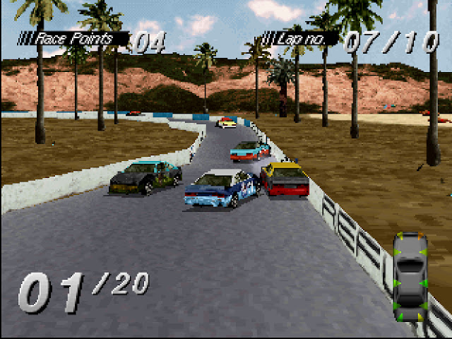 Cars race in the daytime on a narrow course as they crash into each other.