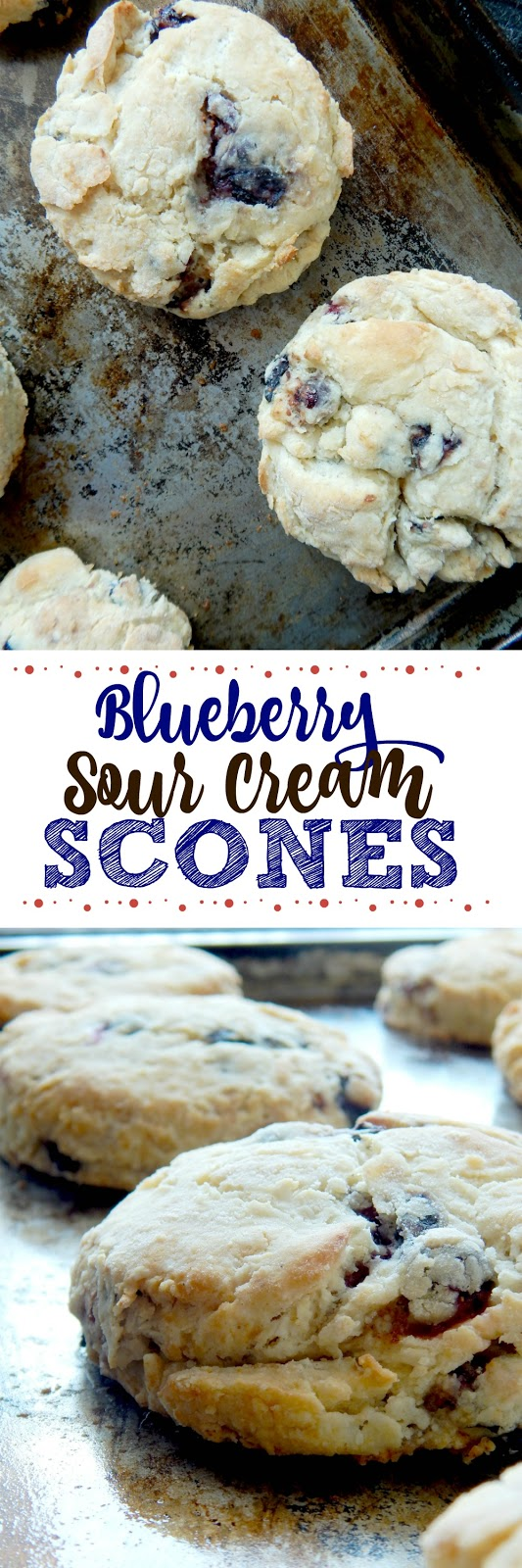 Blueberry Sour Cream Scones...soft, buttery and rich!  Plus the addition of fresh blueberries give them a juicy pop.  Easy to make and delicious to eat! (sweetandsavoryfood.com)