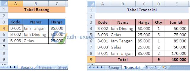 vlokup beda sheet dalam excel