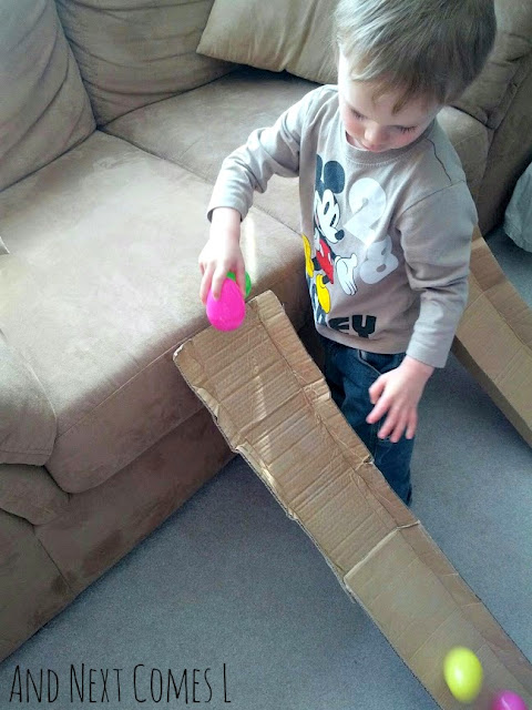 Cardboard ramps and wobbly Easter eggs from And Next Comes L